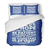SanChic Duvet Cover Set Quote Bible Typographic Rejoice in Hope Be Patient Tribulation Constant Prayer Religion Decorative Bedding Set 2 Pillow Shams King Size