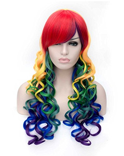 Tsnomore Long Wavy Curly Multi-Color Colorful Rainbow Full Hair Wig fpr Cosplay Party (Halloween Costumes Overnight Shipping)