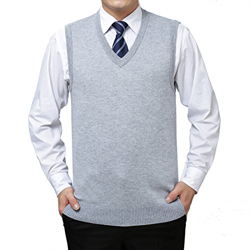tted Vest Warm Cashmere Wool V Neck Sleeveless Pullover Tops(Light Gray,S) (Cashmere V-neck Sweater Vest)