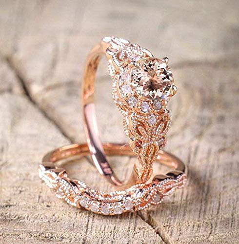 Rhame Fashion Morganite 18K Rose Gold Fil Round Cut Ring Wedding Engagement Sz 5-10 | Model RNG - 21366 | 6