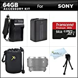 64GB Accessories Kit For Sony QX1 Smartphone Attachable Compact System Camera Includes 64GB High Speed Micro SD Memory Card + Extended Replacement (1500maH) NP-FW50 Battery + AC/DC Travel Charger + Neoprene Soft Lens Carrying Case + Mini TableTop Tripod +