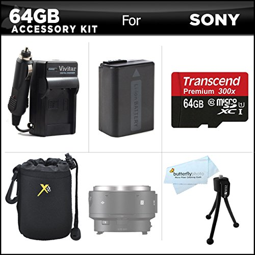 64GB Accessories Kit For Sony QX1 Smartphone Attachable Compact System Camera Includes 64GB High Speed Micro SD Memory Card + Extended Replacement (1500maH) NP-FW50 Battery + AC/DC Travel Charger + Neoprene Soft Lens Carrying Case + Mini TableTop Tripod + by ButterflyPhoto