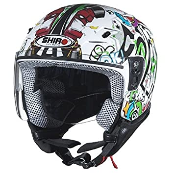 Casco de moto jet niño SHIRO SH-20 Comics KIDS-, color blanco blanco
