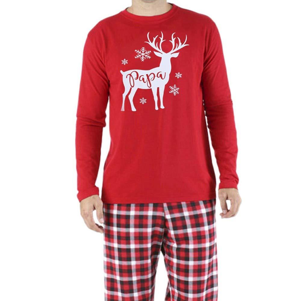 LHWY Christmas Pyjamas Family Reindeer Kids Women Men Tops Sweatshirt Couples Xmas Pjs Matching Cotton Clothes
