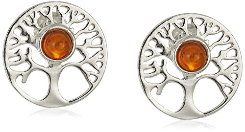 Amber Sterling Silver Tree Stud Earrings (Tree Amber)