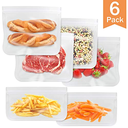 - 6 Pack Reusable Freezer Bags, Leakproof Sandwich Bags(4 Reusable Sandwich Bag & 2 Reusable Snack Bag)-EXTRA THICK Ziplock Bag for Food Storage Home Organization