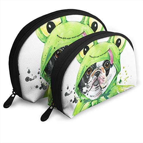 Dog Wearing Green Frog Costume Customized Cosmetic Bag Shell Shape Large One for Ladies Cosmetics Storage -