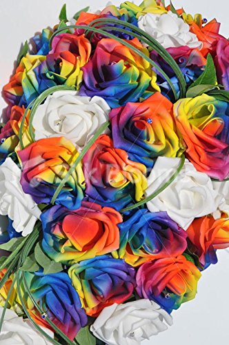Colourful Artificial Rainbow Rose Wedding Cascade Bouquet with Ivory Roses by Silk Blooms Ltd