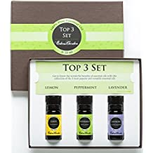 Intro to Essential Oils Set- 100% Pure Therapeutic Grade Aromatherapy Oils (Comparable to Doterra's Introductory Kit)- 3/ 10 ml of Lemon, Lavender and Peppermint by Edens Garden