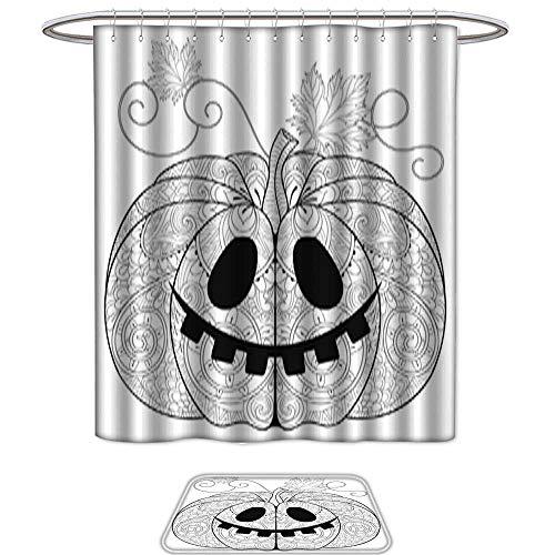 QianHe Set of 2,Shower CurtainPumpkin for Halloween Thanksgiving