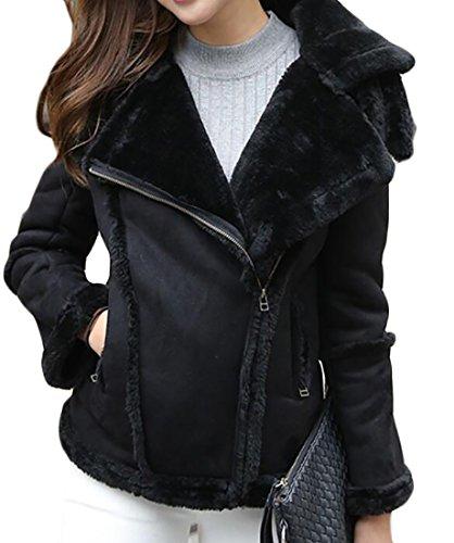 - Frieed Women Oblique Zipper Faux Suede Lapel Fleece Lined Moto Jacket Coat Black XS