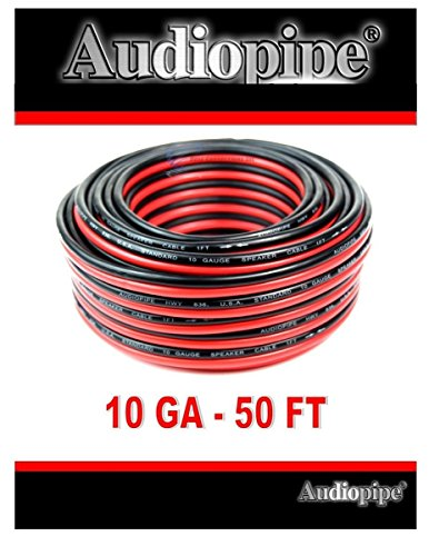 50' AUDIOPIPE 10 GA GAUGE RED BLACK ZIP WIRE SPEAKER CABLE COPPER CLAD CAR AUDIO STEREO #10-50RB (Car 10 Audio)