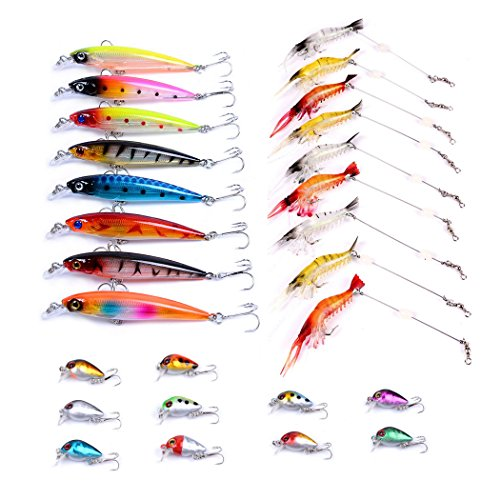 Aorace Fishing Lures Squid 3D Laser Minnow Jerkbait Mini Hard Crankbait Bass Salmon Trout swimbaits Soft Shrimp Baits for Saltwater Freshwater 27Pcs/lot Fishing Gear kit