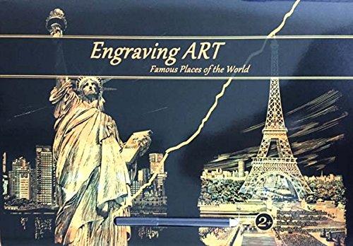 Gold Foil Engraving Art Painting Set -2 Sheets A3 Size Eiffel Tower-PARIS + STATUE OF LIBERTY-NEW YORK CX