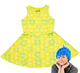 Disney Inside Out Joy Youth Girls Skater Dress and Wig Costume Set (Large)