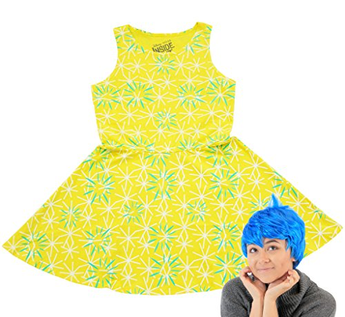 Inside Out Disney Joy Youth Girls Skater Dress and Wig Costume Set (Joy And Sadness Costumes)