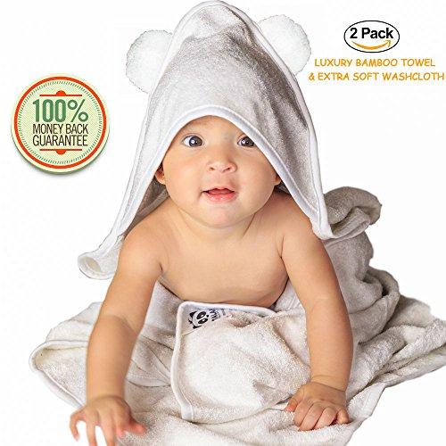 Teddy Bath Robe Bear (Deluxe 100% Bamboo Hooded Towel Robe with Bear Ears + Washcloth   Size 35