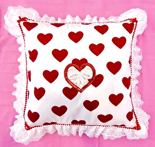 Valentine Heart Pillow,Sequined Heart Applique,Plush,White Lace,Red Satin,USA Made