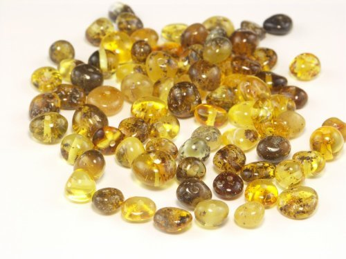 Green Baltic Amber Beads, Polished Baroque 6-8 mm, 10 (Green Amber Beads)