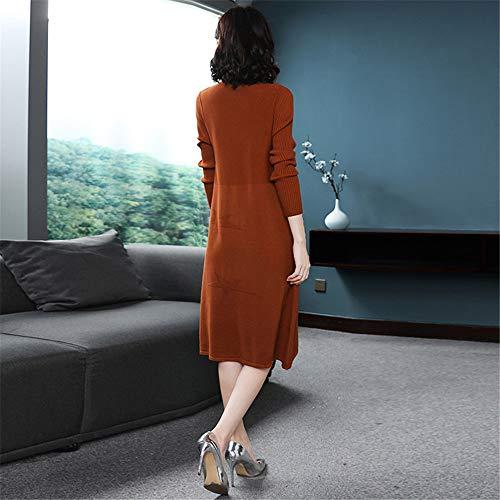 Vestito Tè Maglione Lunghe Maniche Caffè arancia Color Con Mezza Allentato Cotone Magro Pigro Latte Manica Grande Donna Sezione Shirloy Sottile Collo 1w6nP5q6d