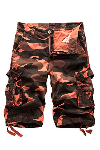 - HSRKB Men's Belted Cargo Short, Cropped Pants, Long Shorts for Men (A083-Orange Camo, 40)