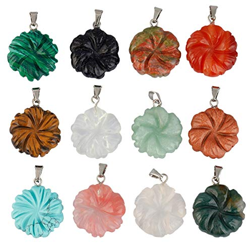 SUNYIK Carved Assorted Stone Pendant Set for Necklace, Healing Crystal Jewelry Charms Kits, Flower Shaped Pendant, Pack of 12