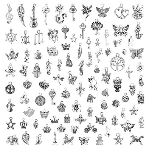 Charms for Jewelry Making 200 Pieces Wholesale Bulk Lots, Mixed Smooth Tibetan Silver Charms Pendants for DIY Necklace Bracelet Jewelry Making Crafting -