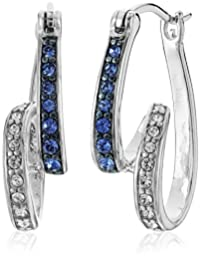 Sterling Silver Blue and White Swarovski Elements Swirl Hoop Earrings
