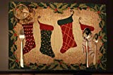 Tache Festive Christmas Holiday Hang My Stockings by the Fireplace Woven Tapestry Placemat Set of 4