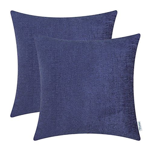 CaliTime Pack of 2 Throw Pillow Covers Cases for Couch Sofa Home Decor, Solid Dyed Soft Chenille, 18 X 18 Inches, Navy