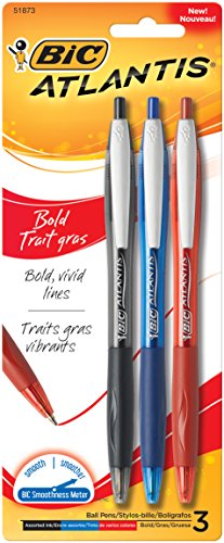 BIC Atlantis Bold Retractable Ball Pen, Bold Point (1.6mm), Assorted Colors, 3-Count Red Atlantis Art