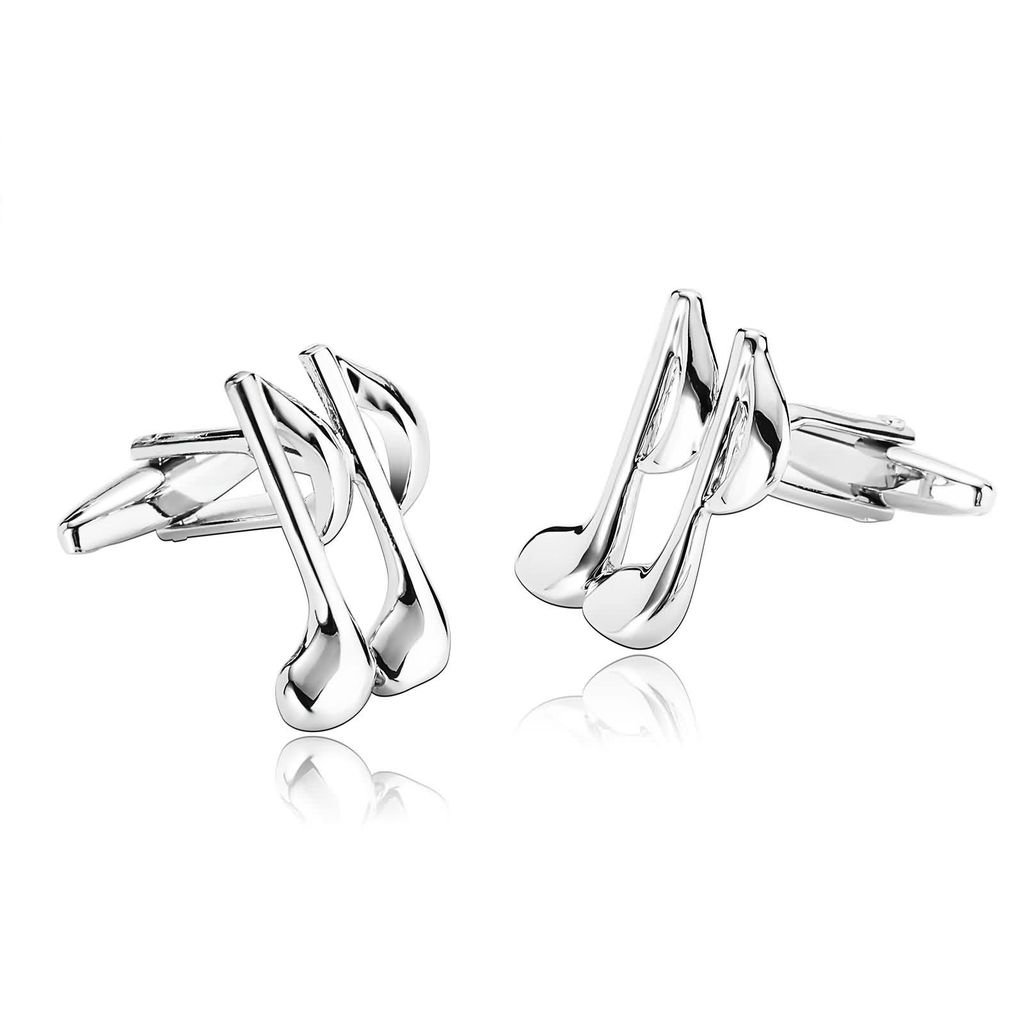 KnBoB Jewerly Stainless Steel Men's Tie Clip Cufflinks Set Novelty Music Symbol Silver Shirt Studs KBPJS692CL