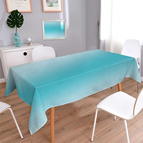 Rectangle Beads African Turquoise (Anmaseven Ombre Rectangle Dinner Picnic Table Cloth Abstract Theme Tropical Beach Cove Aquatic Ombre Design Digital Printed Artwork Print Waterproof Table Cover for Kitchen Turquoise Size: W60 x L90)