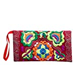 DZT1968 Women's Embroidered Cloth Long Card Holder Handbag Phone Wallet With Strap (Red)