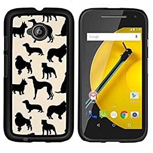 LECELL--Funda protectora / Cubierta / Piel For Motorola Moto E2 E2nd Gen -- perro patrón de las especies de color beige negro --