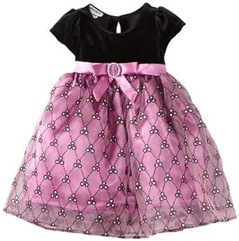 Blueberi Boulevard Baby Girls' Velvet Sequin Dress, Cerise, 18 Months