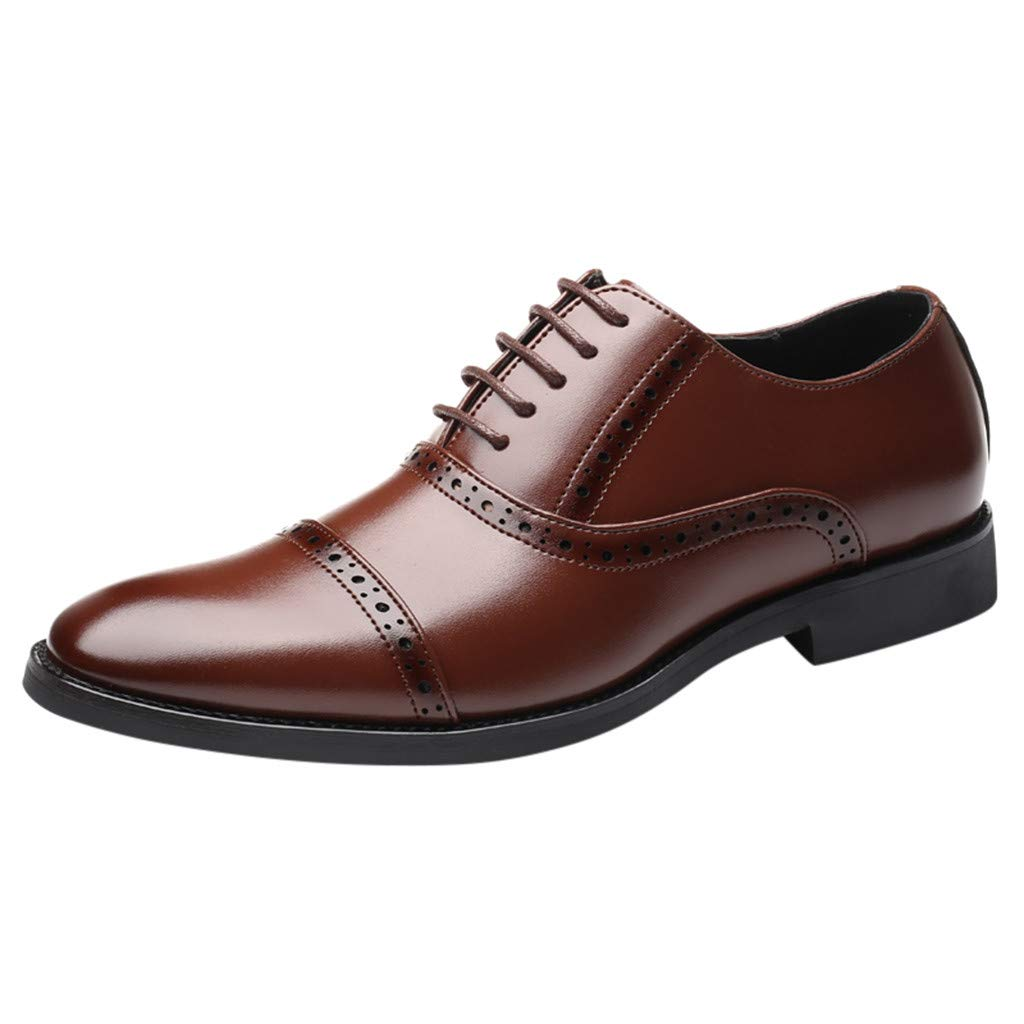 HOSOME Men's Fashion Casual Pointed Toe Oxford Leather Wedding Shoes Business Shoes Men's Business Shoe Brown