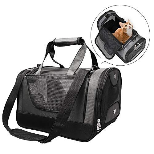 PETTOM Oxford Haustier Tragetasche Hunde Transportbox Katze mit EIN waschbares weiches Wollpad, Gittergewebe…