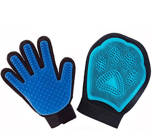 HIG Pet Grooming Gloves Set, 2-in-1 Deshedding Glove, Gentle and Efficient Pet Massage & Bathing Brush & Comb for Dogs, Cats, Horses, Rabbits, Pets' Hair Removal Tool (Blue)