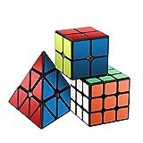 #4: Speed Cube Set, Roxenda Magic Cube Set of 2x2x2 3x3x3 Pyramid Smooth Puzzle Cube