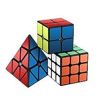 Ensemble Speed Cube,Roxenda Pyramid 2x2x2 3x3x3 Vitesse Cube de Magique; Autocollant Spin Lisse Super Durable avec des Couleurs Vives pour; Facile à Tourner et à Lisser