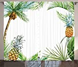 Ambesonne Pineapple Decor Curtains, Watercolor Tropical Island Style Border Print with Exotic Fruit Palm Trees and Leaves, Living Room Bedroom Decor, 2 Panel Set, 108 W X 90 L Inches, Multi For Sale