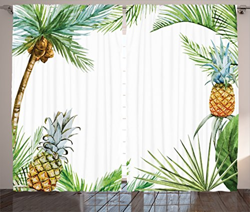 "Ambesonne Pineapple Curtains, Watercolor Tropical Island Style Border Print Exotic Fruit Palm Trees and Leaves, Living Room Bedroom Window Drapes 2 Panel Set, 108"" X 90"", Fern Green"