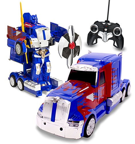 (RC Toy Transforming Robot Remote Control (27 MHz) Truck with One Button Transformation, Realistic Engine Sounds and 360 Speed Drifting 1:14 Scale (Blue))