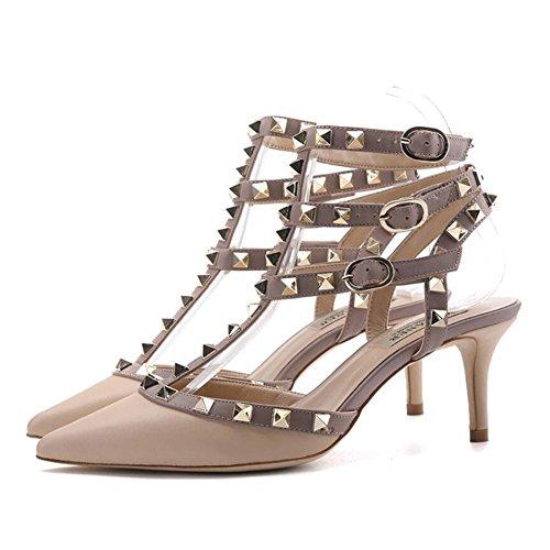 Summer Rivets Office Comfort Stilettos for C Career Walking Outdoor Women's amp; PU Dress Heel Sandals Buckle Comfort vBwqttF