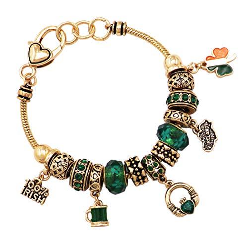 Rosemarie Collections Women's St. Patrick's Day Irish Shamrock Claddagh Glass Bead Charm Bracelet (Irish Gold)