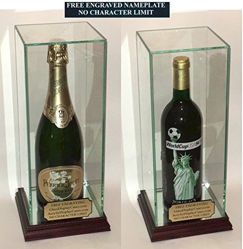 Wine - Champagne - Liquor Bottle Personalized Engraved Glass Display Case with Mahogany Finish Hard Wood Base