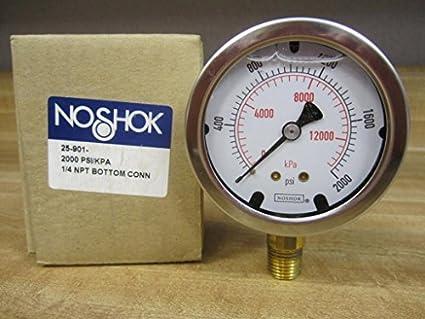 Noshok 25-901-2000 Liquid Pressure Gauge 1/4NPT 2000 PSI: Amazon com