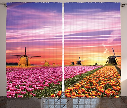 Ambesonne Nature Curtains, Tulip Fields and Windmills in European Landscape with a Sunset Sky View, Living Room Bedroom Window Drapes 2 Panel Set, 108 W X 84 L Inches, Orange Purple