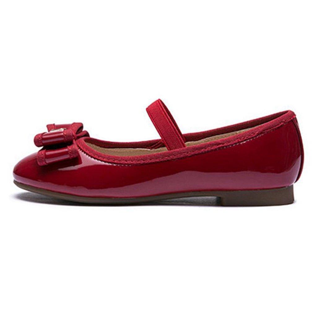 Girls Mary Jane Princess Dress Ballet Bowknot Elastic Strap Slip On Low Heels Ballerina Flats Shoes